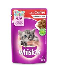 Alimento Úmido Sachê Whiskas Gatos Filhotes Carne 85g