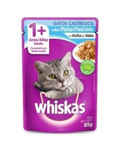Alimento Úmido Whiskas Gatos Adultos Castrados Peixe 85g