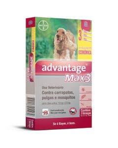 Antipulgas Advantage Max3 Combo Cães Entre 10 e 25Kg - 3 Bisnagas
