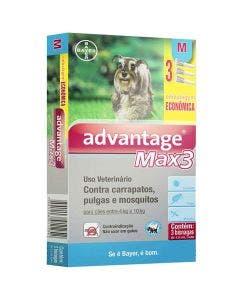 Antipulgas Advantage Max3 Combo Cães 4 até 10Kg - 3 Bisnagas