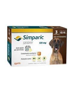 Antipulgas Simparic 120mg Cães 40 até 60Kg 3 Comprimidos