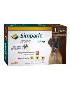 Antipulgas Simparic 120mg Cães 40 até 60Kg 1 Comprimido