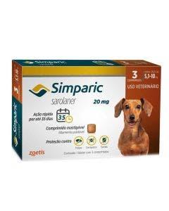 Antipulgas Simparic 20mg  Cães 5 até 10Kg 3 Comprimidos