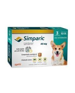 Antipulgas Simparic 40mg Cães 10 até 20Kg 3 Comprimidos