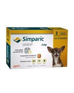 Antipulgas Simparic 5mg Cães 1,3 até 2,5kg 3 Comprimidos