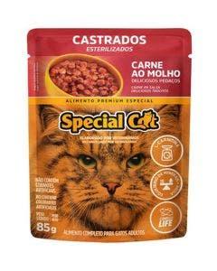 Alimento Úmido Special Cat Gatos Castrados Carne ao Molho 85g
