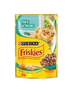 Alimento Úmido Friskies Gatos Adultos Mix de Peixe ao Molho 85g