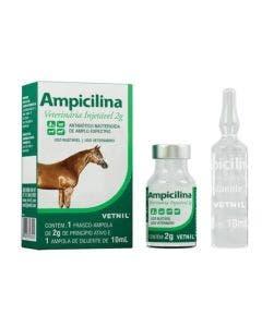 Antibiótico Ampicilina Veterinária Injetável Vetnil 2g