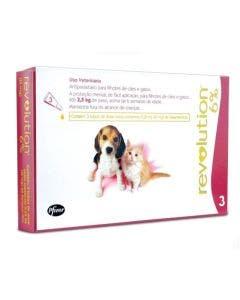 Antipulgas Revolution Filhotes Cães e Gatos até 2,5Kg - Combo com 3 Pipetas
