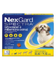 NexGard Spectra Antipulgas e Carrapatos para Cães de 3,6 à 7,5kg 1 Tablete