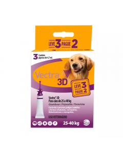 Antipulgas Vectra 3D Cães 25 à 40Kg - 3 Pipetas