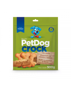 Biscoito PetDog Crock para Cães Adultos Integral 500g
