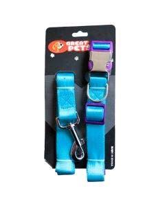 Coleira + Guia Cães Tamanho Grande Azul Metal PC