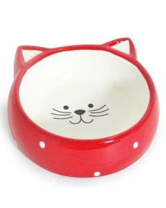 Comedouro Porcelana Face Cat Vermelho 200ml