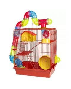 Gaiola Hamster Power Pet's Tubo Labirinto 3 Andares Luxo Vermelha