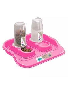 Comedouro Plast Pet Kit Flex Cães e Gatos Rosa 650ml