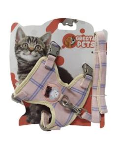 Kit Peitoral Great Pets Colete Rosa Claro Para Gato G