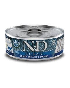 Alimento Úmido N&D Ocean Gatos Adultos Salmão Bacalhau e Camarão 80g