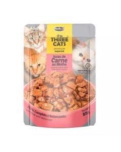 Alimento Úmido Three Cats Carne ao Molho Gatos Adultos 85g