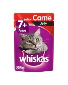 Alimento Úmido Sachê Whiskas Carne Jelly Gatos Adultos Sênior +7Anos 85g